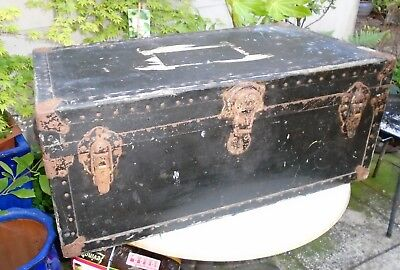 Vintage Black Travel Steamer Trunk with Leather Handles. Coffee Table. Wirral