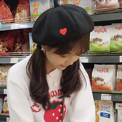 Cotton Embroidered Love Heart Berets Beret Tam Beanie Cap Slouch Hat N7