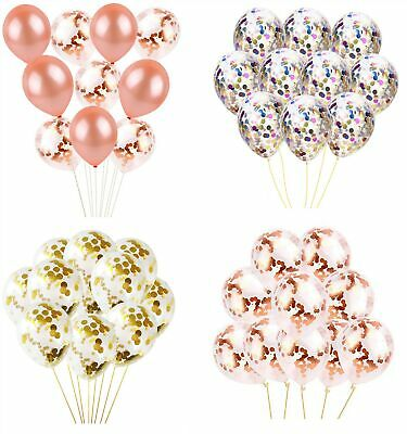 "10 Pack 12"" Confetti Latex Balloons Gold Mixed Rose Gold Weddings Hen Parties"