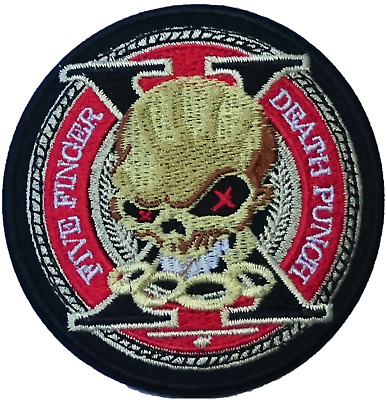 """5FDP FIVE FINGER DEATH PUNCH Skull Embroidered Iron On Sew On Badge Patch 3.1"""""""