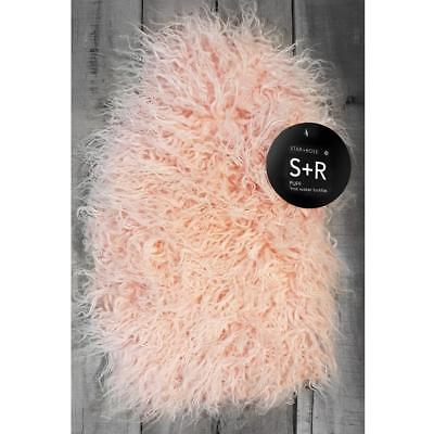 Star + Rose Gorgeous Salmon Pink Lion Fur Puff Cover 2 Litre Hot Water Bottle