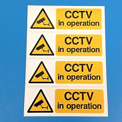 CCTV Warning Security Camera Stickers, Signs, PACK OF 4,  150mm x 50mm