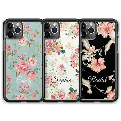 Personalised Floral Name Custom Initials Phone Case For iPhone X XS XR 8 7 6 6S
