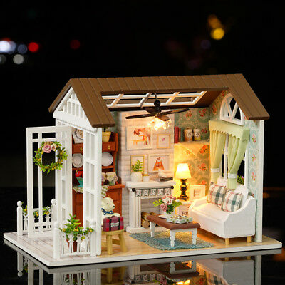 Doll House Wooden Studio Kit w/ LED Light Furniture DIY Handcraft Toy Gift Cute