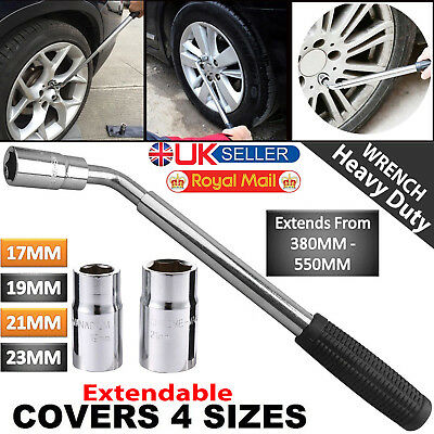 17 19 21 & 23mm Extendable Wheel Brace Wrench Telescopic Car Van Socket Tyre Nut