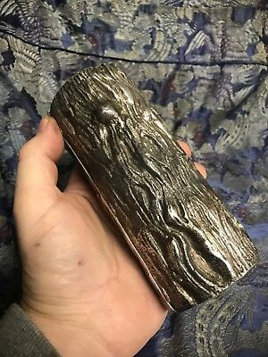 Antique Victorian Cast Iron Metal Log silver Plated  Brass Heavy Lid Box Match