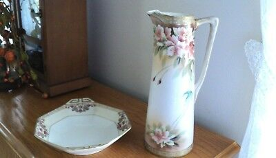 2 Antique Nippon Victorian Handled Candy Dish & Flower leaf Nippon Chocolate Pot