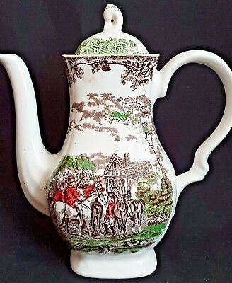 Vintage Staffordshire China Myotts Country Life English Scene Coffee Pot