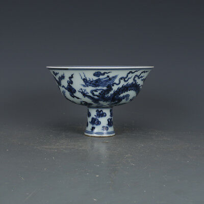 "6"" China Antique Porcelain ming xuande blue & white dragon height feet Cup"