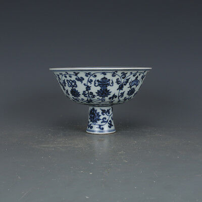 China Antique Porcelain ming xuande blue & white Eight treasure height feet Cup