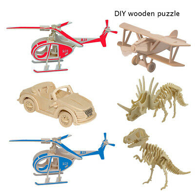 assembled DIY 3D Airplane Wooden Car Puzzle Dinosaur Game Model Building Toys