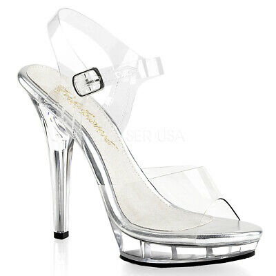 6c909f921e2 Pleaser Fabulicious Lip 108 Clear Pole Dancing Ankle Strap Sandals Posing  Shoes
