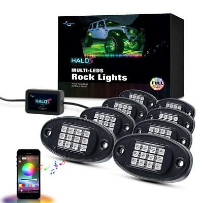 8Pcs RGB LED Rock Light Wireless Bluetooth Music Offroad Truck Lamp Multi-color