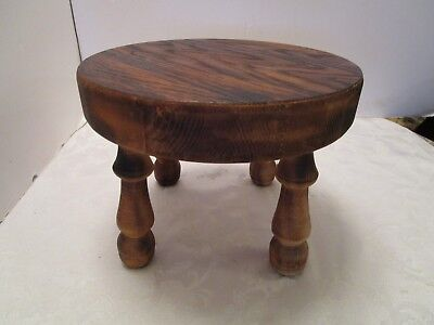 """American Primitive Wood Milking Stool Foot Rest scorched Hand made 10½""""W vintage"""
