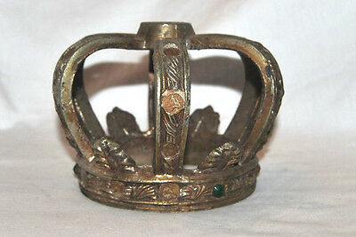 Antique to Vintage Crown Top Decor Solid Metal  Ornate Jeweled HEAVY!!!