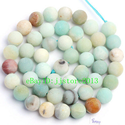 """8mm Frosted Natural Multicolor Amazonite Round Shape Gems Loose Beads Strand 15"""""""