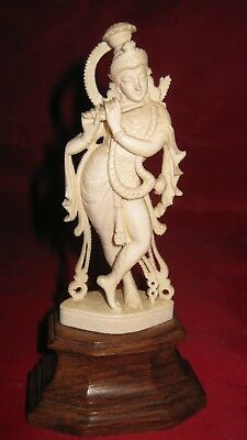 """Vtg hand carved Standing Shiva Girl playing music 6""""~very detailed"""