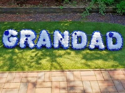 Artificial Silk Funeral Flower Wreath GRANDAD 7 Letter Floral Tribute Memorial
