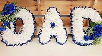 DAD Artificial Silk Funeral Flower Wreath Dad 3 Letter Floral Tribute Memorial