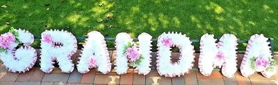 "Artificial Silk Funeral Flower Wreath ""GRANDMA"" Letter  Tribute, GRAVE"