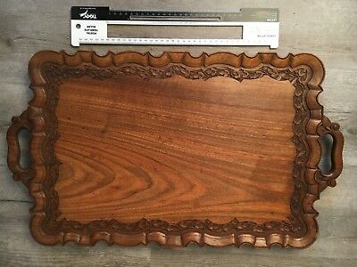 Indian wooden tea tray Vintage carved