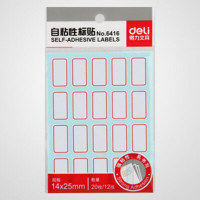 240PCS 14 x 25mm White Price Sticker Self Adhesive Labels Blank Name Number Tags