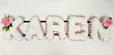 Artificial Silk Funeral Flower Wreath ANY 5 Letter  Word Floral Tribute Memorial