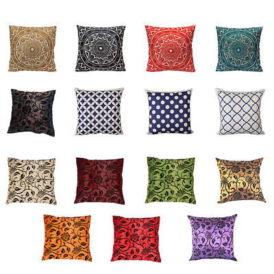 1X(Vintage Pillow Case Cushion Covers Home Sofa Decor Pattern:#2 red M9W3)