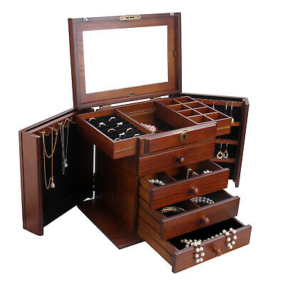 Large Wooden White Jewellery Box Necklaces Storage Organiser Armoire Lock Key 02
