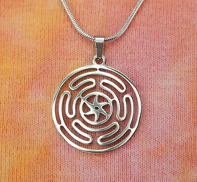 Wheel of Hecate Necklace, Strophalos of Hekate Stainless Steel Charm Pendant