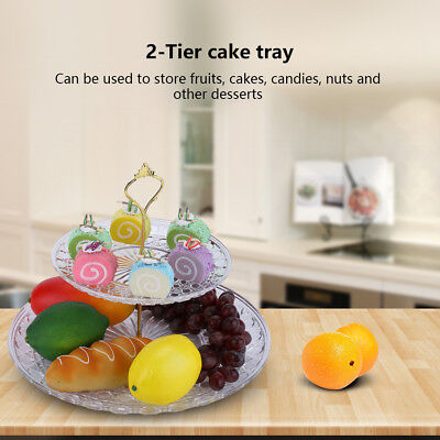 2 Layer Tier Ceramic White Round Serving Display Cakes Platter Food Stand Rack