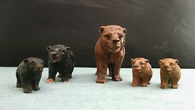Five Walking Grizzly Bear Figurines  composite wood  vintage