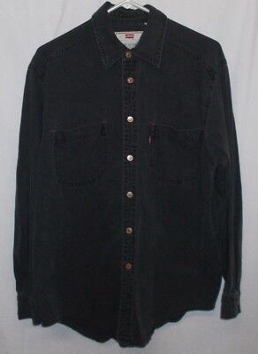 Vintage Levis Red Tab Copper Button Black Shirt Mens Size Medium Perfectly Soft