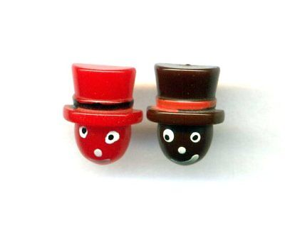 Pair of Super Cute Hand Painted Vintage Bakelite Buttons…2 Little Heads Top Hats
