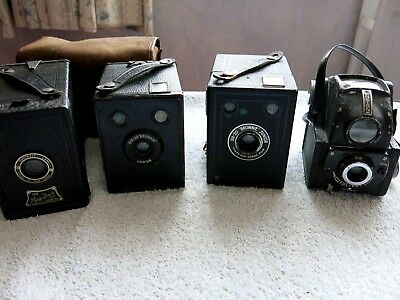 4 RETRO VINTAGE 1930s/40s KODAK BOX BROWNIE 620 FILM CAMERAS SELLING AS ART DECO