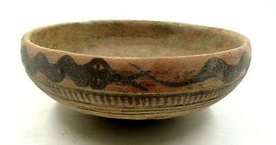 Authentic Ancient Indus Valley Terracotta Plate / Bowl W/ Snake - L612