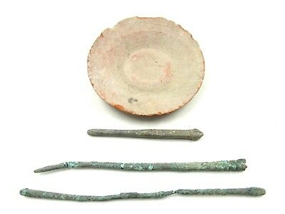 Authentic Ancient Roman Lot Of Legionary Terracotta Bowl & Tools -  L621