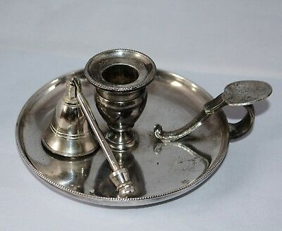 Vintage Silver Plate Candle Holder And Snuffer >>>>>