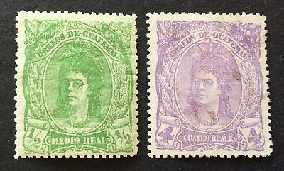 Guatemala 1878 - 2 old unused stamps 1/2 & 4 Reales (4 R. a bit dirty or used!)