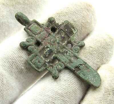 Authentic Late Medieval Bronze Radiate Cross Pendant - Wearable - H210