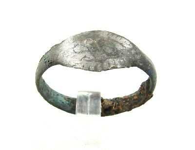 Authentic Medieval Viking Era Silvered Bronze Ring W/ Runic Decoration - H214