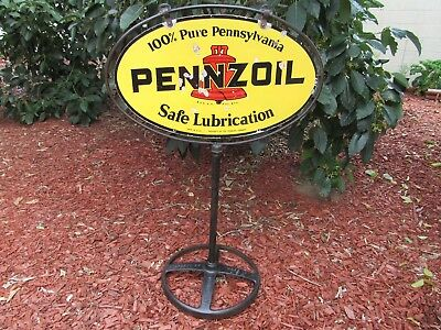 Pennzoil Sign - Vintage with Original Oval Harp Frame and Iron Base - Very Rare!
