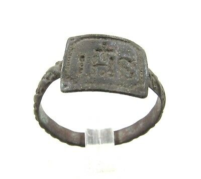 "Authentic Late Medieval Bronze Tudor Period Ring W/  ""ihs"" - H215"