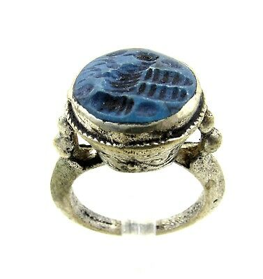 Authentic Post Medieval Silver Ring W/ Intaglio Lapis Bird - Wearable - H217