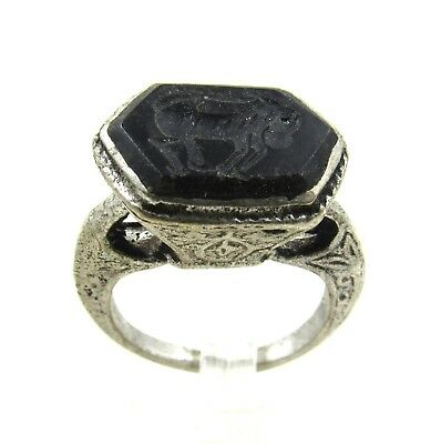Authentic Post Medieval Silver Ring W/ Intaglio Horse - Wearable - H218