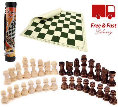 Large Folding Chess Set Wooden Pieces Portable Roll-up Board Puzzle Game Gift UK