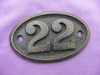 "Vintage, Number ""22"", Oval, Cast Iron Number Plate By ""a. Kenrick & Sons"""
