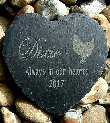 Personalised Engraved Slate Stone Heart Pet Memorial Grave Marker Plaque chicken