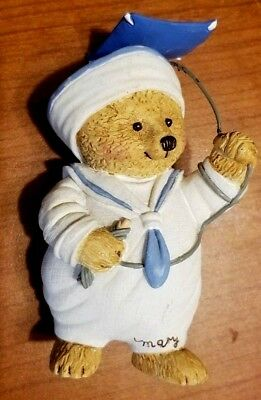 Brown Bear In Sailor Outfit Flying A Kite Mini Resin Figurine