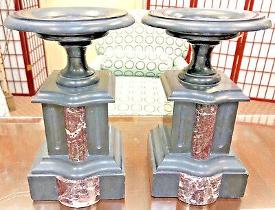 Pair Of Larger Antique French Slimline Black Slate/Marble Urn Side Garnitures